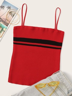 Striped Panel Rib-knit Cami Top