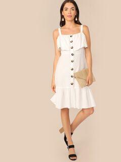 Ruffle Trim Single Breasted Tank Dress