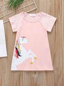 Toddler   T-Shirt   Stripe   Horse   Dress   Print   Girl