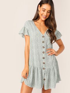 Button Front Dalmatian Flippy Hem Dress