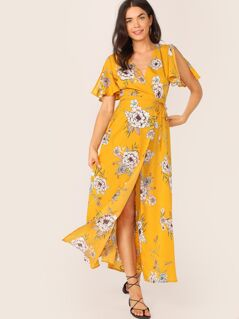 Floral Print Surplice Neck Belted Wrap Dress
