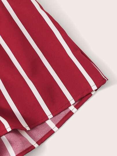 Фото 4 - Разноцветная полосатая блуза с разрезом от SheIn цвет многоцветный