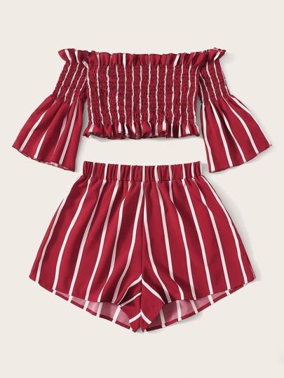 Фото 5 - Разноцветная полосатая блуза с разрезом от SheIn цвет многоцветный
