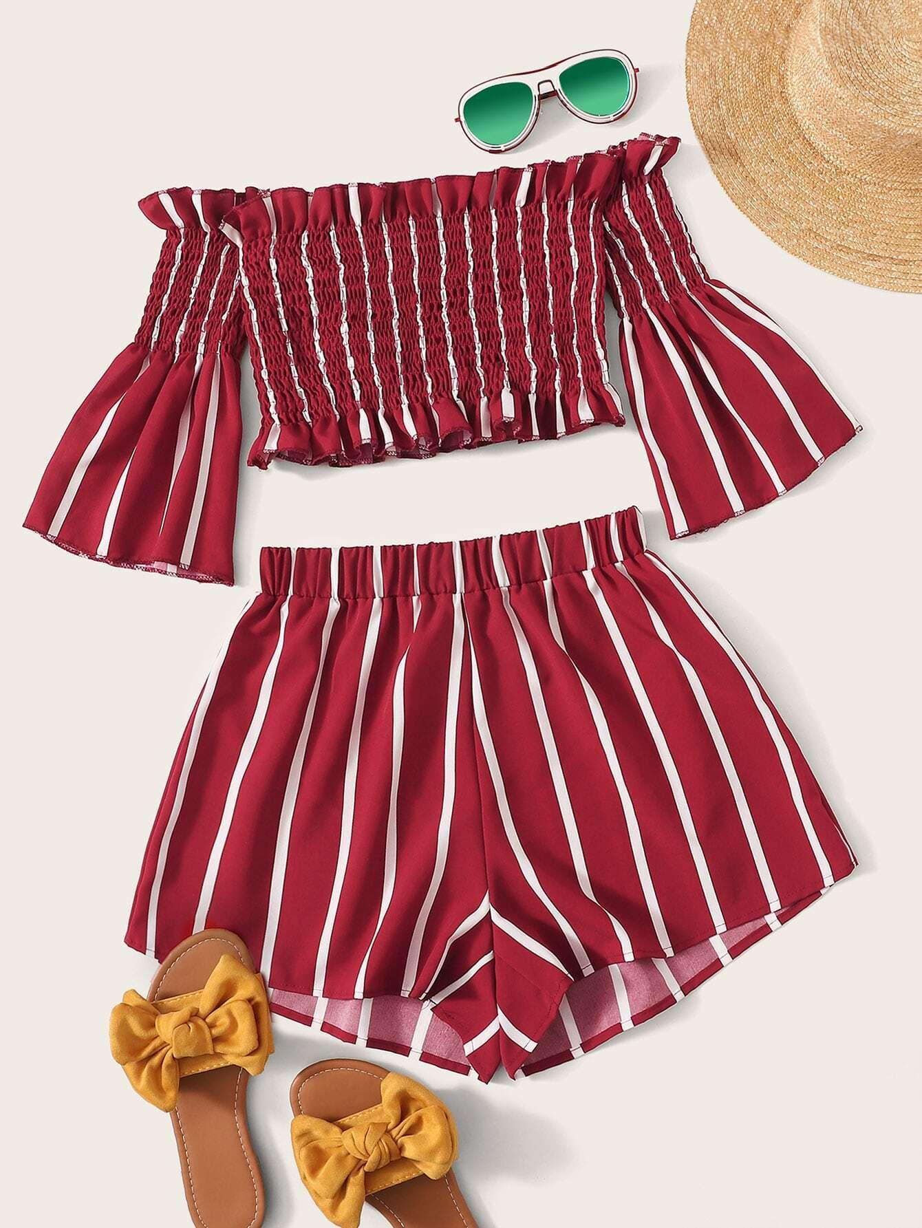Фото - Разноцветная полосатая блуза с разрезом от SheIn цвет многоцветный