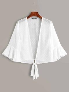 Open Tie Front Jacquard Chiffon Kimono