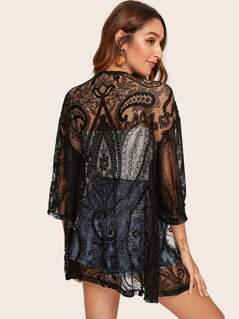 Drop Shoulder Sheer Lace Kimono