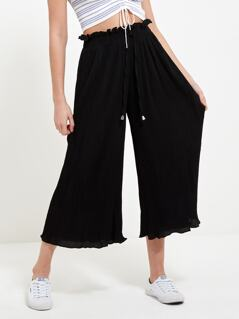 Frill Trim Lettuce Trim Pleated Wide Leg Pants