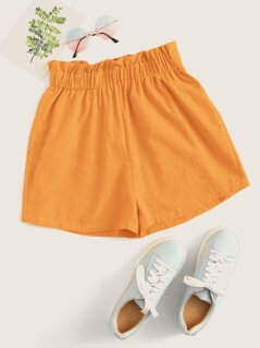 Solid Ruffle Trim Shorts