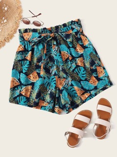 Plus Paperbag Waist Tropical Print Belted Shorts