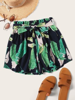 Plus Paperbag Waist Belted Tropical Print Shorts