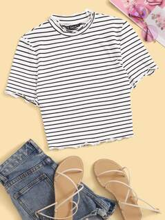Mock Neck Lettuce Trim Striped Tee