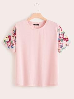 Plus Floral Print Sleeve Top