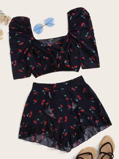 Cherry Print Crop Top & Flounce Hem Shorts Set