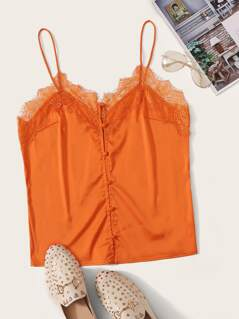 Neon Orange Lace Trim Button Up Satin Cami Top