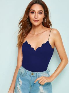 Scallop Edge Rib-knit Fitted Cami Top