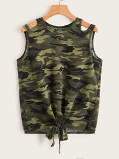 Camo Print Knoted Front Tank Top