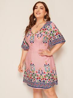 Plus Double V Neck Floral & Striped Print Dress