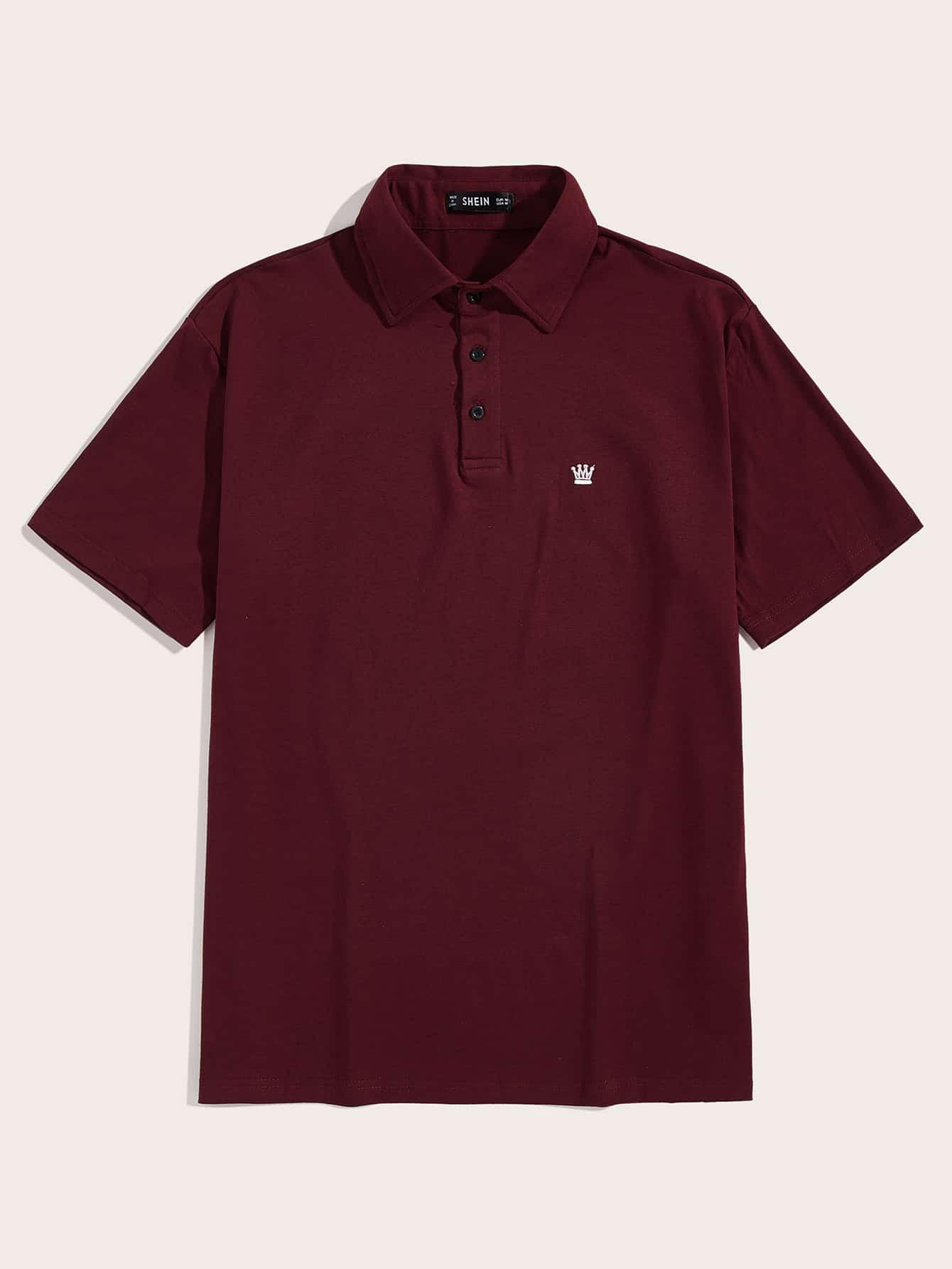 Фото - Мужская рубашка-поло с вышивкой от SheIn бордового цвета