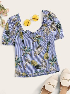 Frill Trim Tropical & Striped Print Top