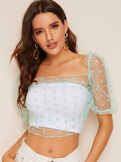 Frill Trim Puff Sleeve Dot Mesh Top