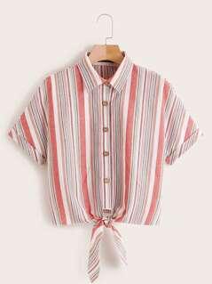 Rolled Cuff Striped Knotted Hem Shirts
