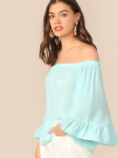 Flounce Sleeve Solid Bardot Top