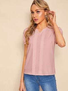 V-cut Pleat Detail Tunic Top