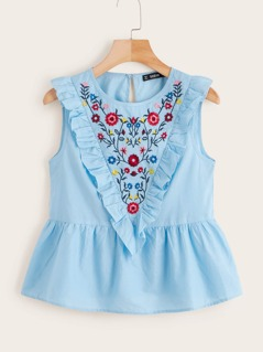 Ruffle Trim Embroidered Peplum Top