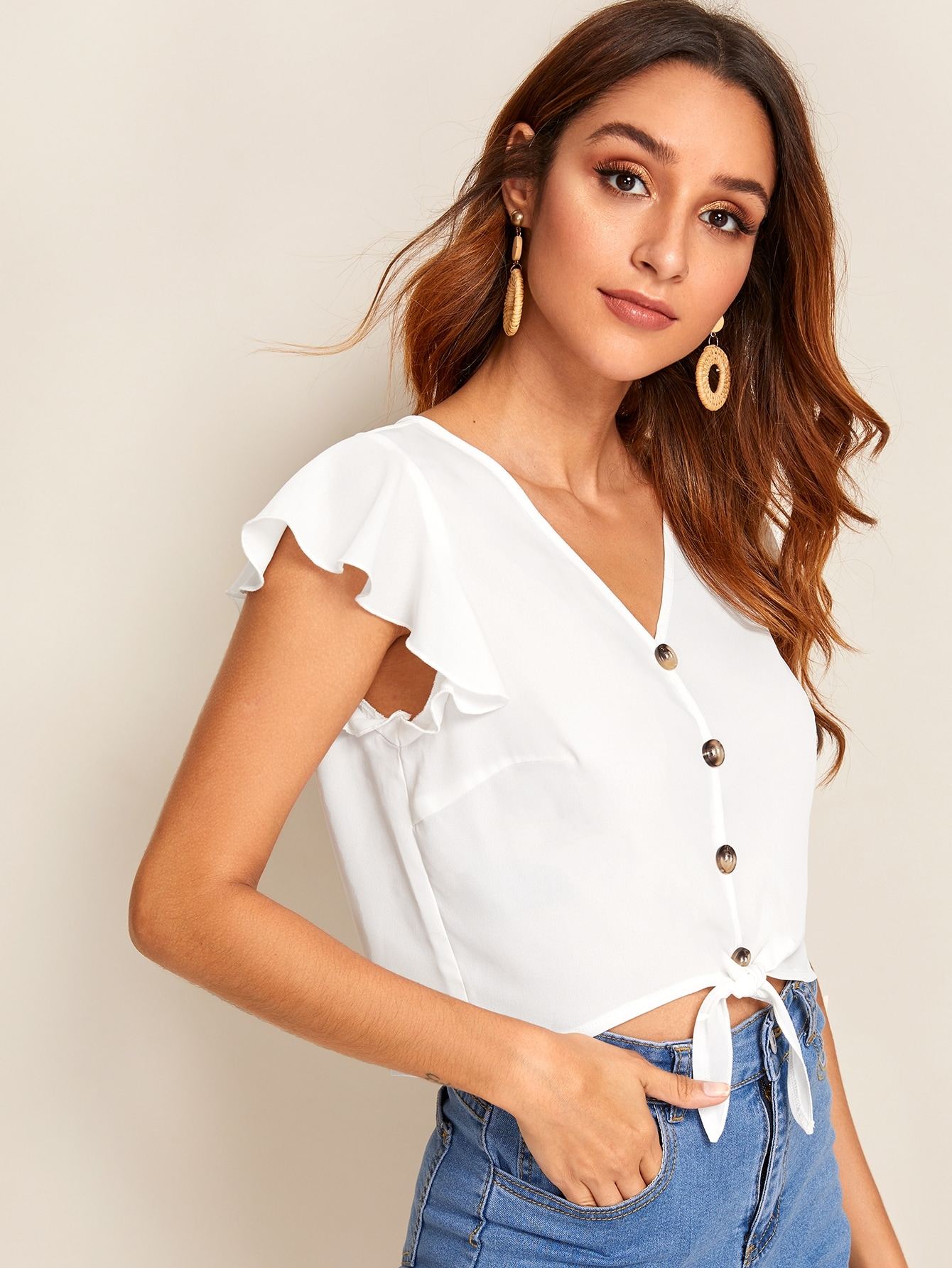 Ruffle Armhole Button Front Tie Hem Top