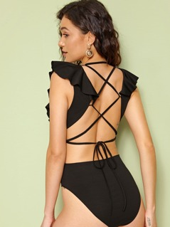 Plunging Neck Ruffle Trim Lace Up Back Bodysuit