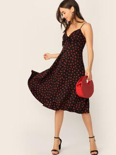 Allover Heart Print Tie Front Sweetheart Cami Dress