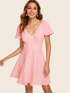 Solid Shirred Back Fit and Flare Dress
