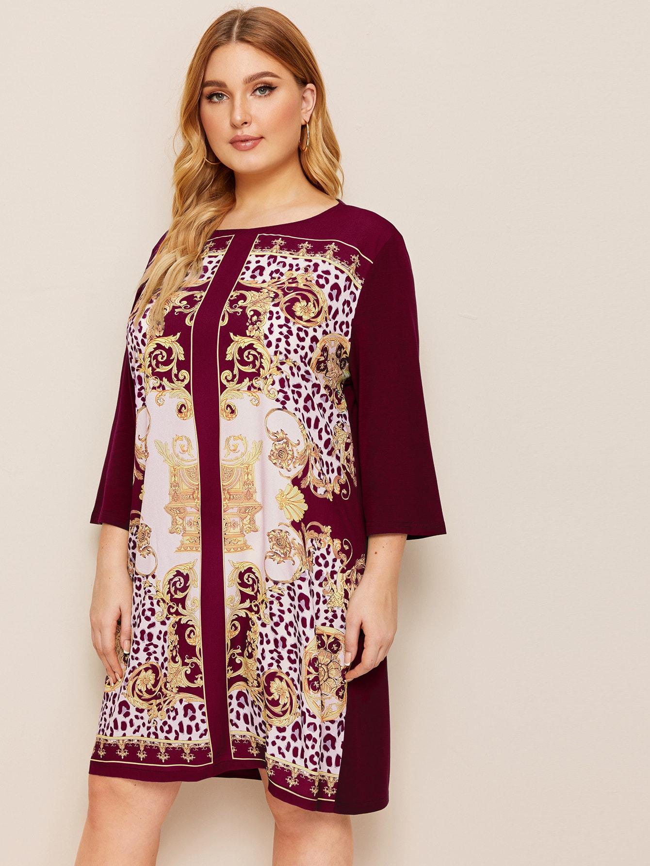 Фото - Платье размера плюс с графическим принтом от SheIn бордового цвета