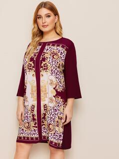 Plus Scarf Print Tunic Dress