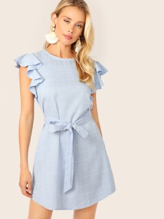Split Back Ruffle Armhole Belted Grid Dress
