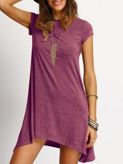 Heather Knit Hanky Hem Tee Dress
