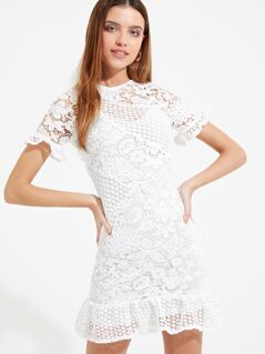 Ruffle Trim Guipure Lace Dress