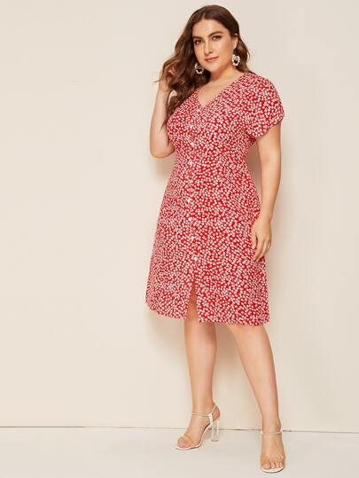 Фото 3 - Платье в горошек с цветочным принтом от SheIn цвет фиолетовые
