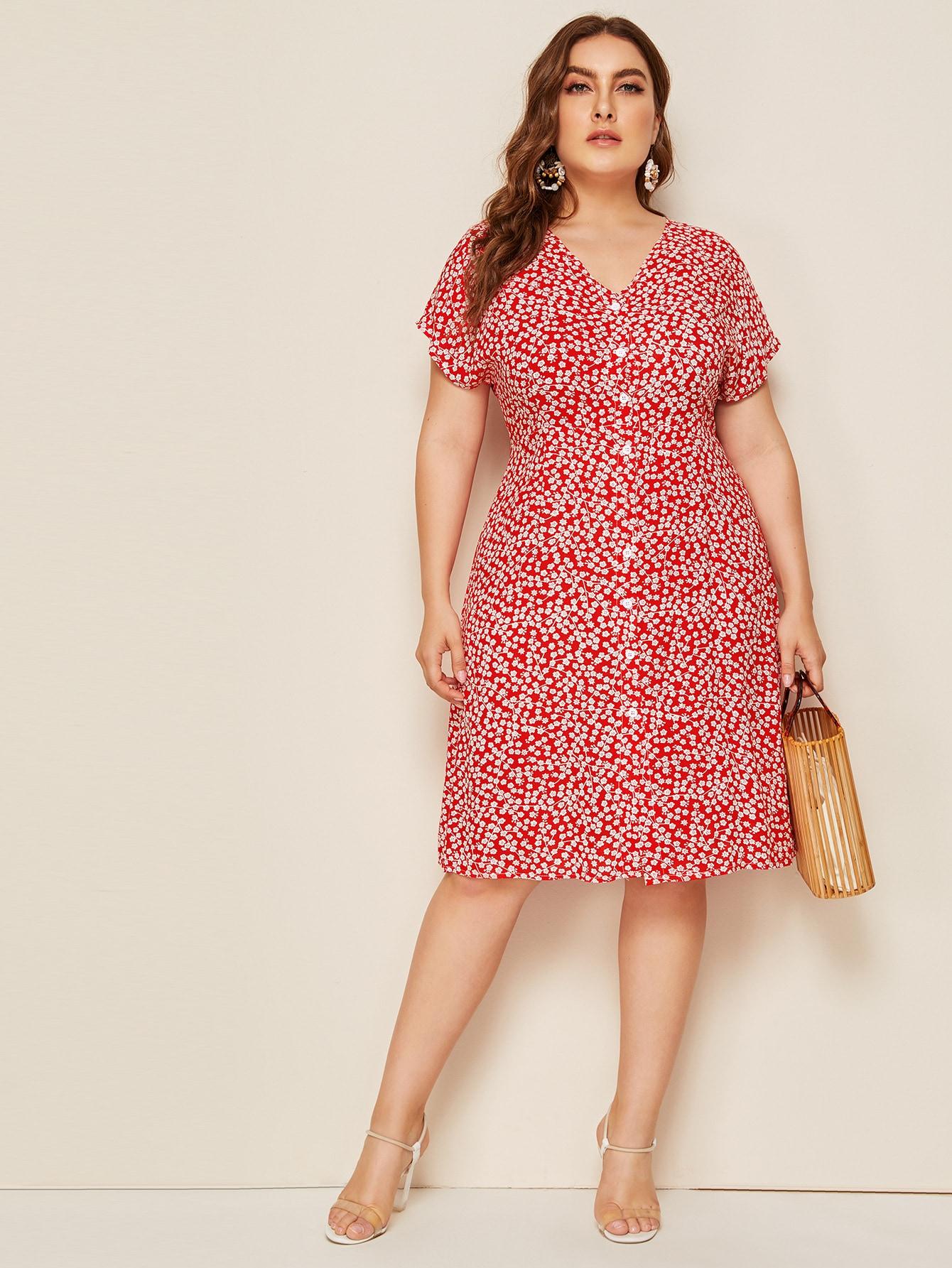 Фото - Платье в горошек с цветочным принтом от SheIn цвет фиолетовые