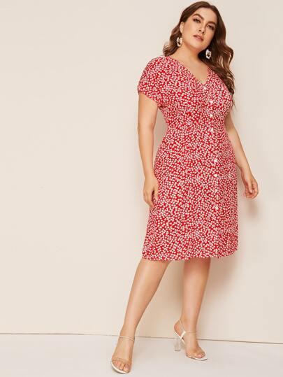 Фото 4 - Платье в горошек с цветочным принтом от SheIn цвет фиолетовые