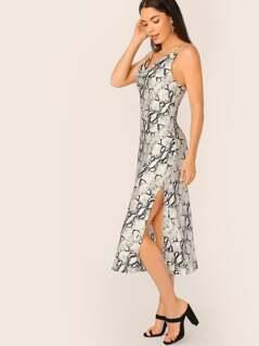 Cowl Neck Snakeskin Side Slit Slip Dress