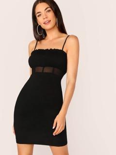 Sheer Mesh Waist Ruched Side Mini Dress