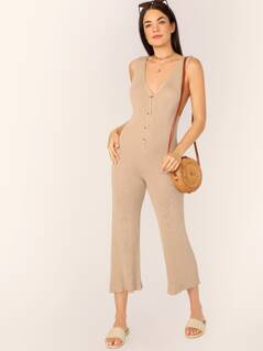 V-Neck Button Front Knitted Sleeveless Jumpsuit