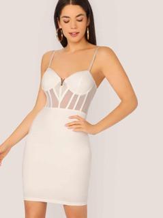 V-Neck Underwire Bust Mesh Detail Mini Dress