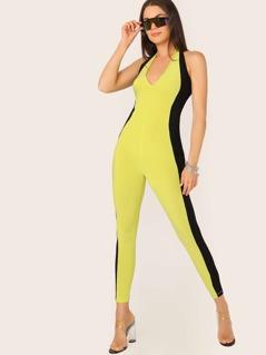 Halter Neck Sleeveless Colorblock Jumpsuit