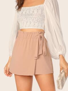 Elastic Waist Side Tie Skort Shorts