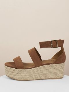 Double Bands Flatform Espadrille Wedge Sandals
