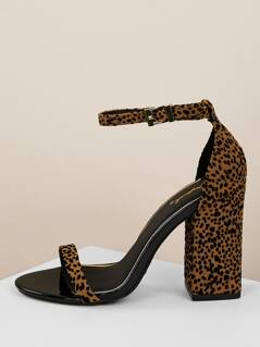 Open Toe Leopard Print Block Heel Sandals