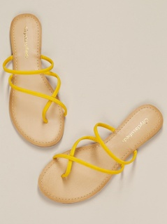 Leatherette Toe Ring Slip On Flat Sandals