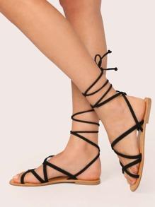 Black Boho Plain Sandals, size features are:Bust: ,Length: ,Sleeve Length: